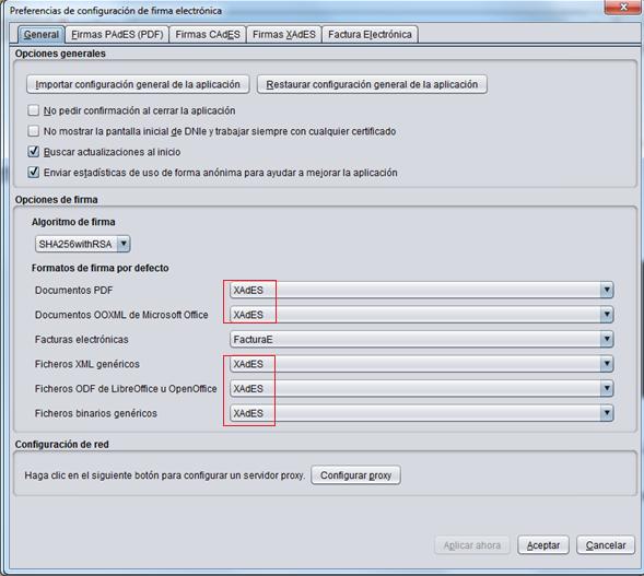 Ventana preferencias configuración firma electrónica